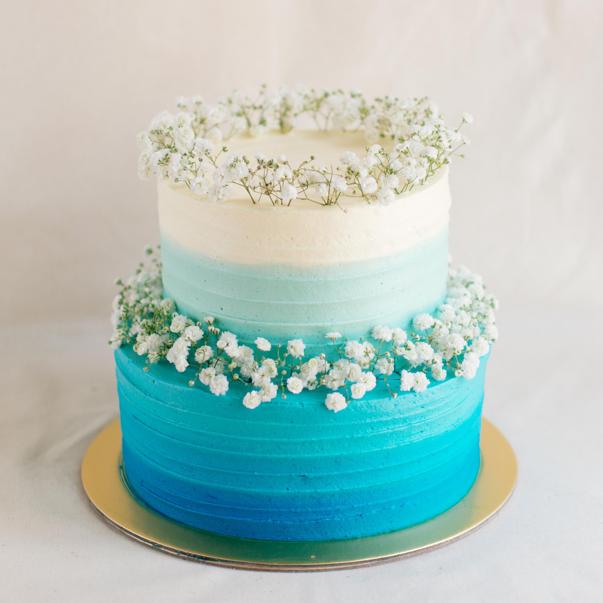 Two-Tier Ombre with Baby's Breath - Custom Bakes by Edith Patisserie