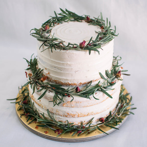 Two-Tier Rustic Rosemary and Rose Petal Wreath - Custom Bakes by Edith Patisserie