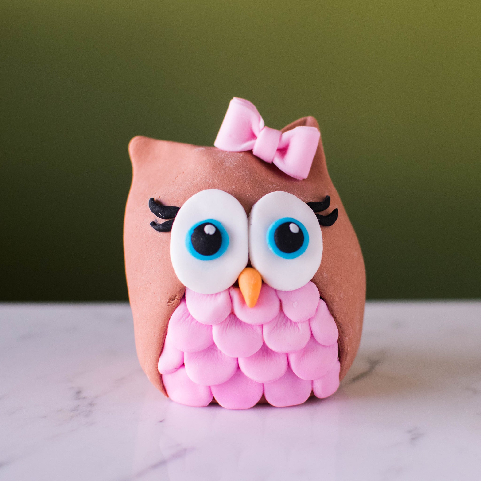 Pink Owl Fondant Topper - Custom Bakes by Edith Patisserie