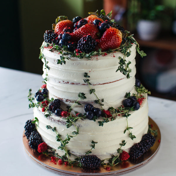 Two-Tier Mixed Berries and Thyme Cake - Custom Bakes by Edith Patisserie