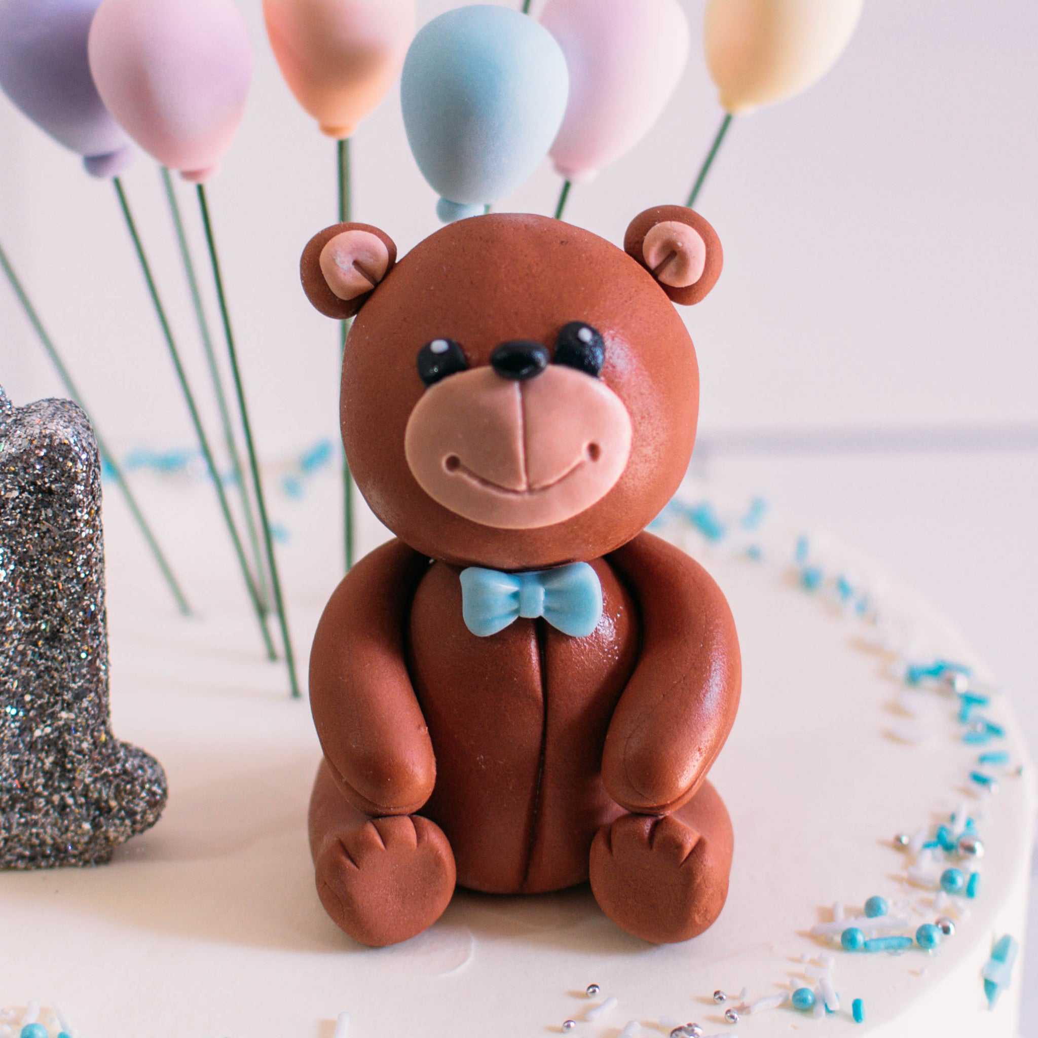 Smiling Bear with Bowtie Fondant Topper - Custom Bakes by Edith Patisserie