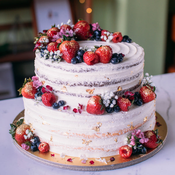 Two-Tier Rustic Floral Berry Cake - Custom Bakes by Edith Patisserie