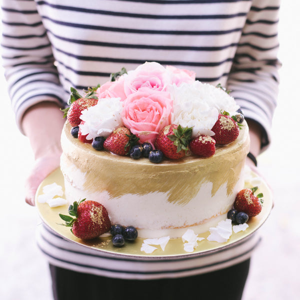 Gold Dusted Rustic Cake Mixed Berries & Fresh Florals - Custom Bakes by Edith Patisserie
