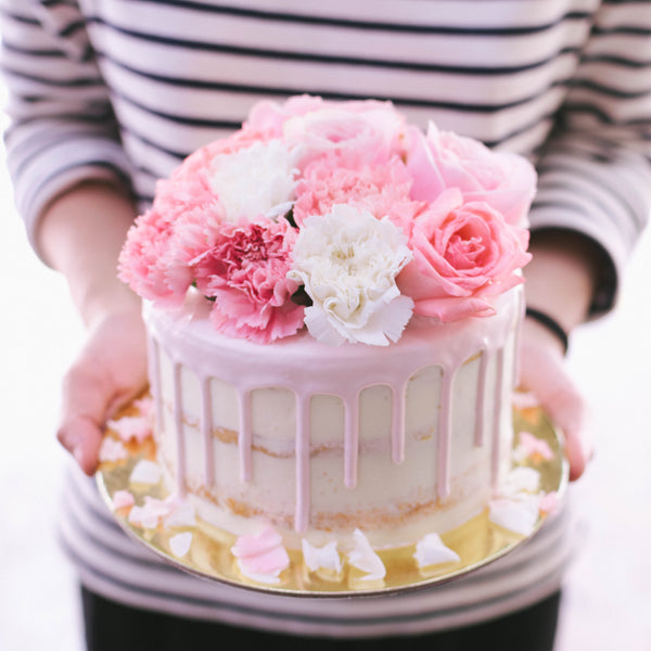 Rustic Drizzle Cake with Pastel Pink & White Florals - Custom Bakes by Edith Patisserie