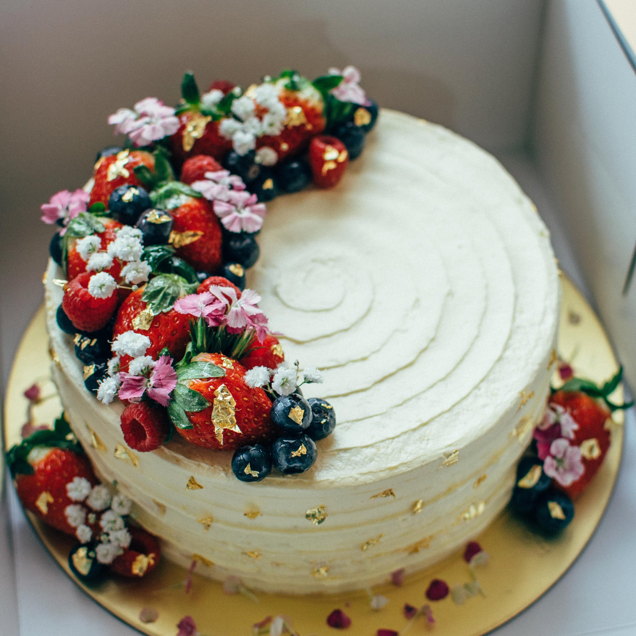Rustic Floral Berry Cake - Custom Bakes by Edith Patisserie