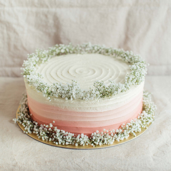 Striped Ombre with Baby's Breath - Custom Bakes by Edith Patisserie