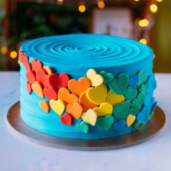 Cascading Rainbow Hearts Cake - Custom Bakes by Edith Patisserie