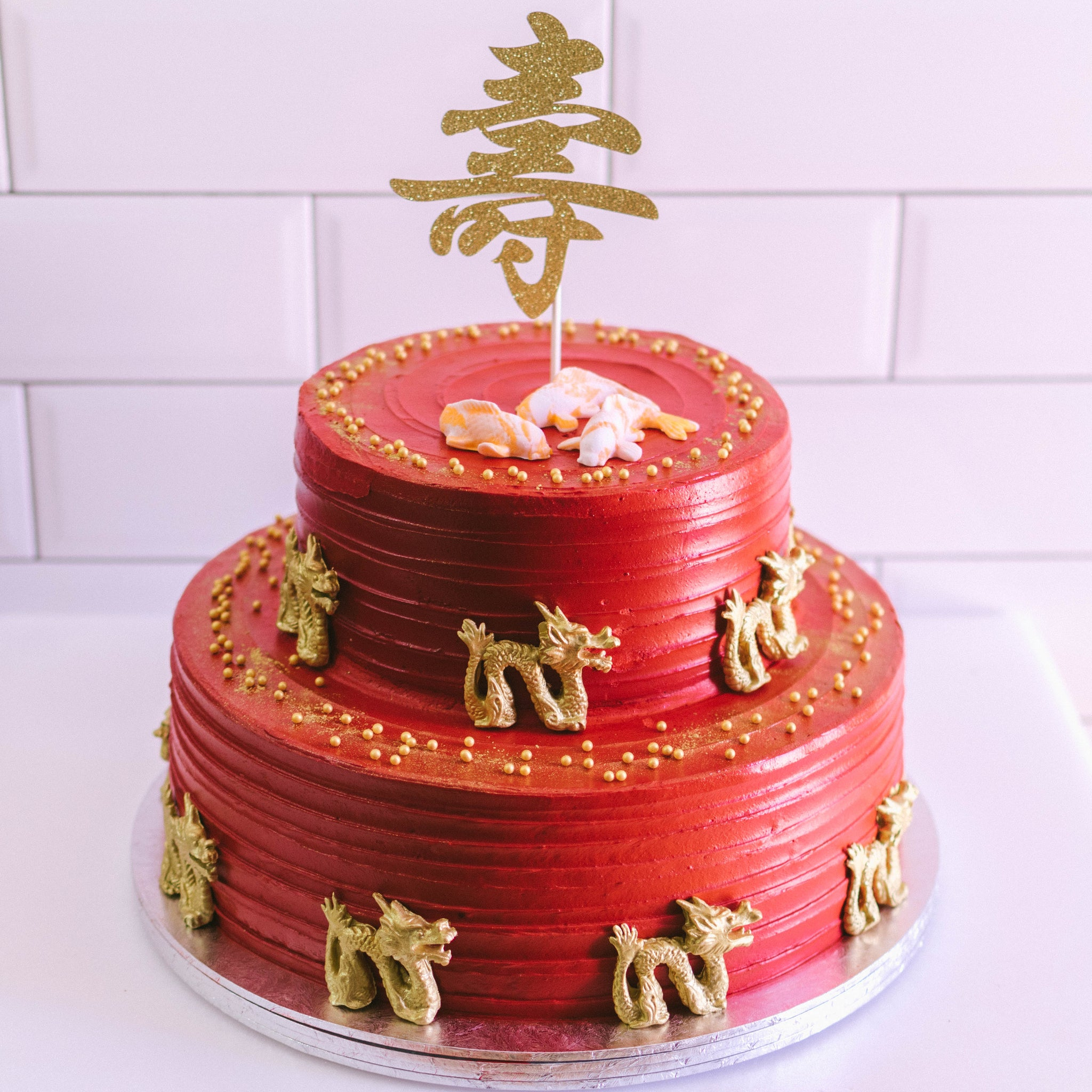 Two Tier Auspicious Longevity Cake - Custom Bakes by Edith Patisserie
