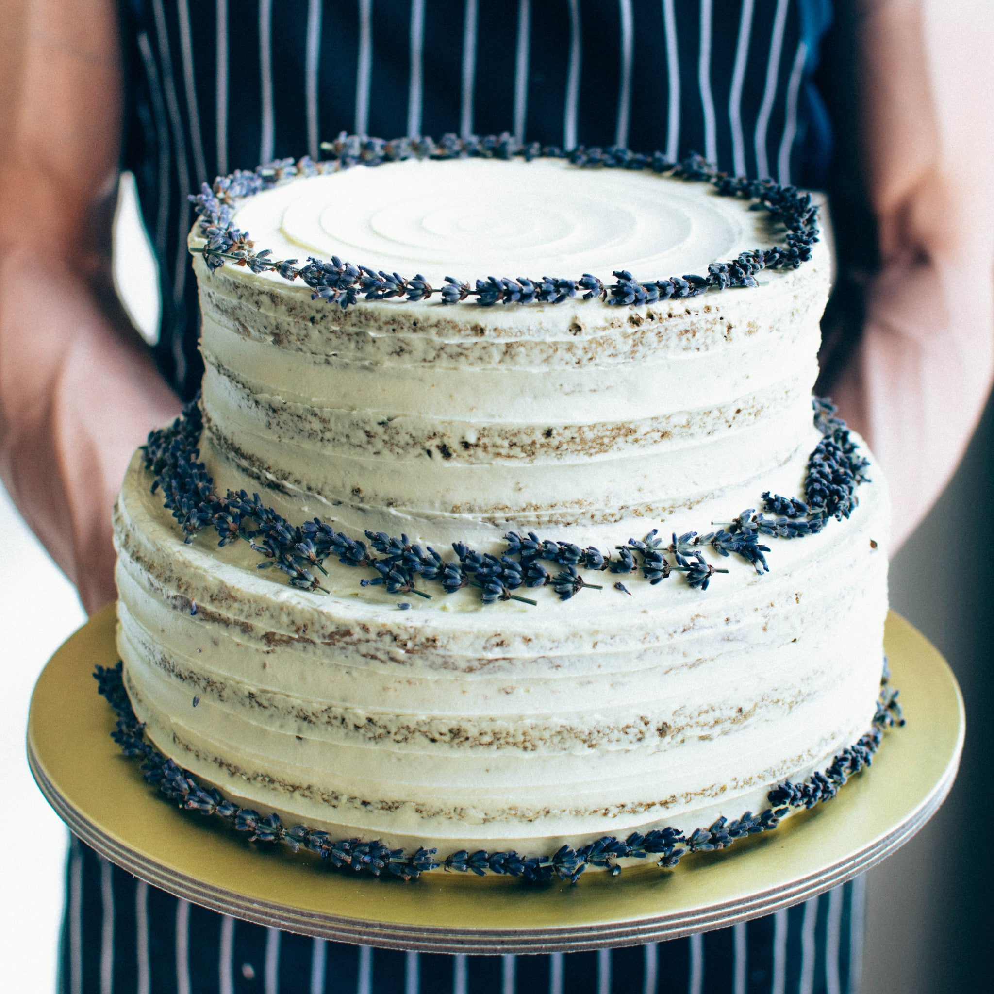 Two-Tier Rustic Lavender Cake - Custom Bakes by Edith Patisserie