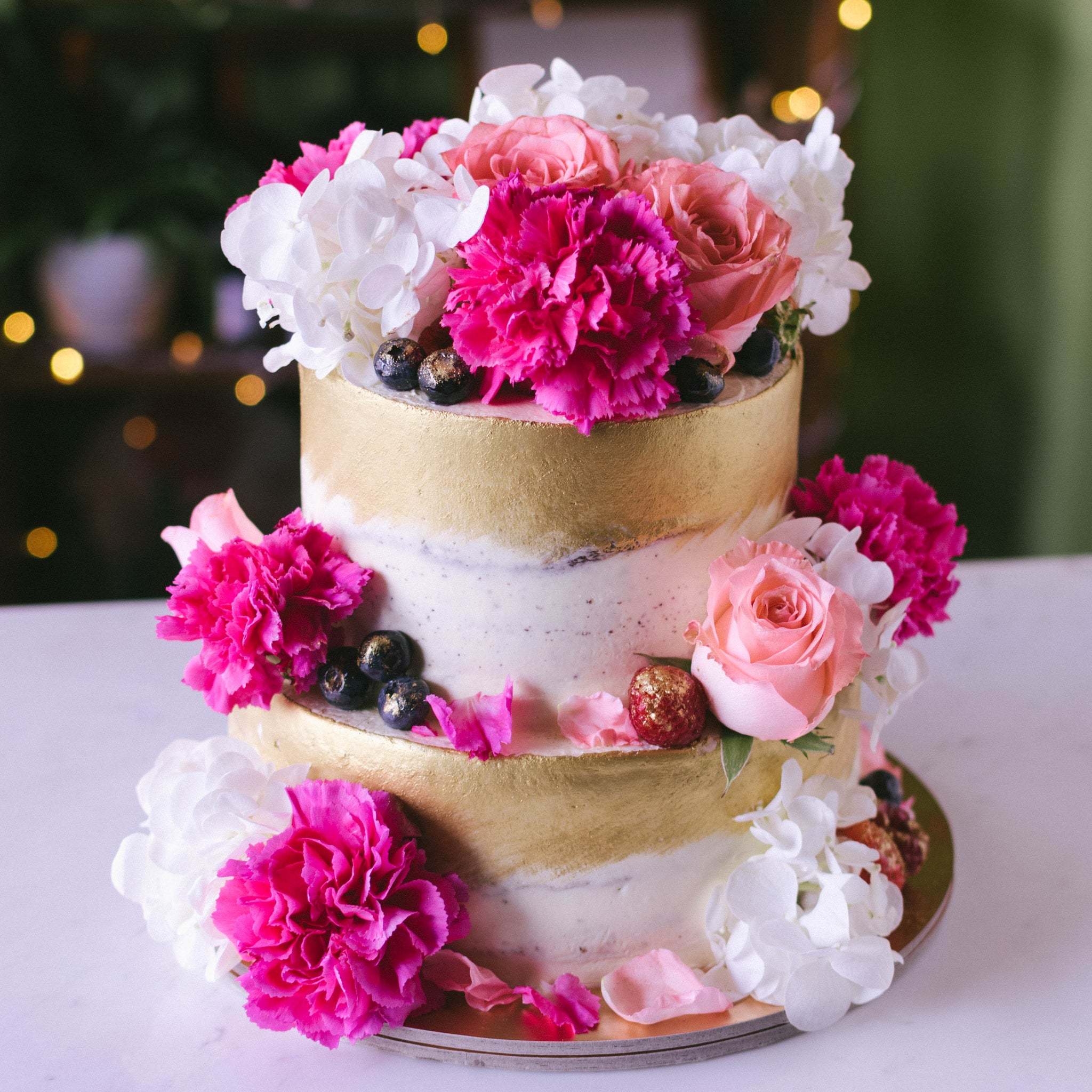 Two Tier Rustic Gold and Fresh Florals Cake - Custom Bakes by Edith Patisserie