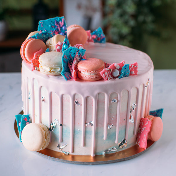 Buy Pink Amp Blue Marbled Cake With Candy Shards And Macaron