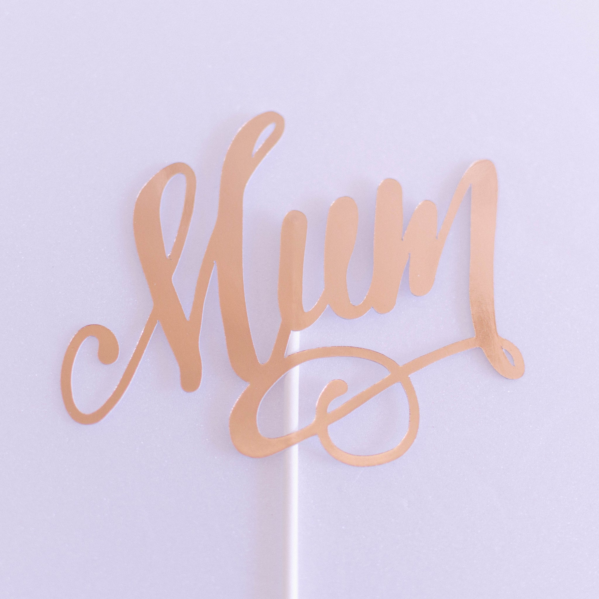'Mum' Rose Gold Foil Paper Topper - Custom Bakes by Edith Patisserie