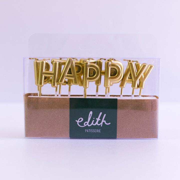 Gold Happy Birthday Candles - Custom Bakes by Edith Patisserie