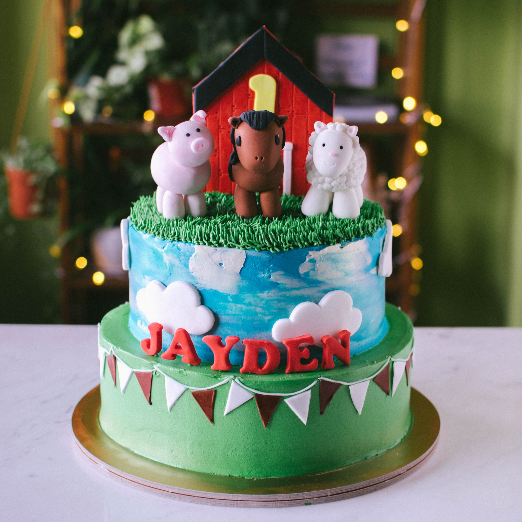 Two-Tier Barnyard Cake - Custom Bakes by Edith Patisserie