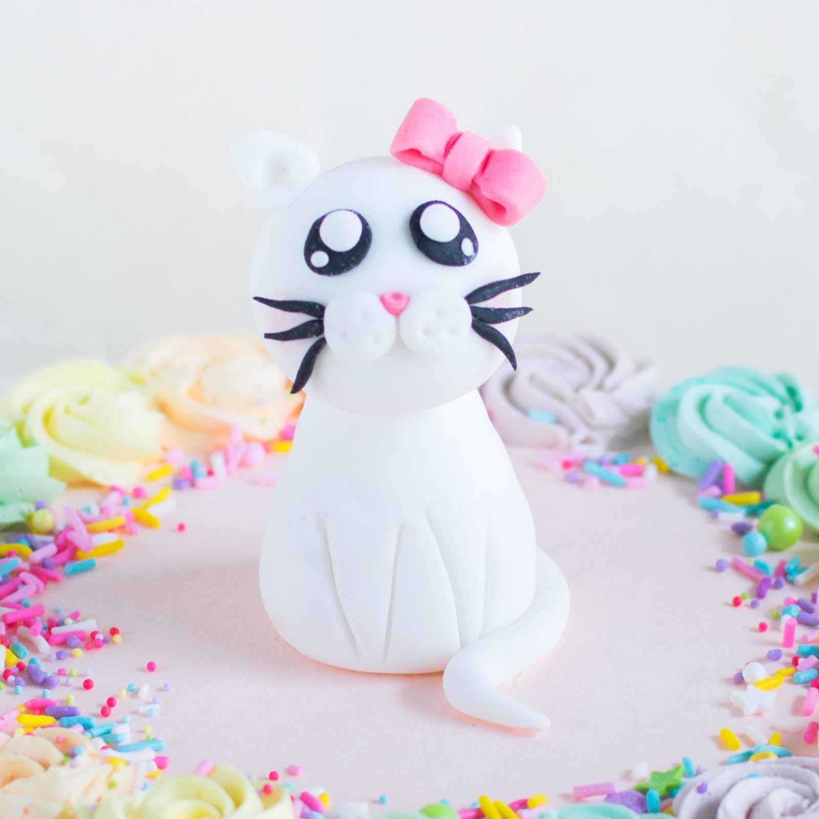 Cat with Pink Bow Fondant Topper - Custom Bakes by Edith Patisserie
