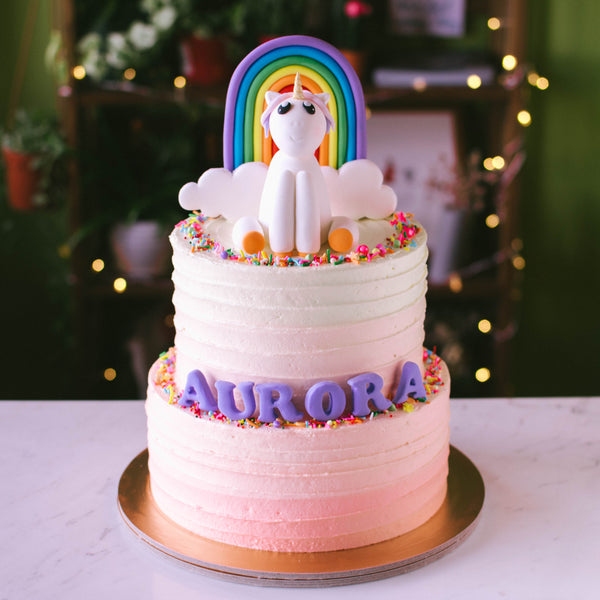Two-Tier Ombre with Rainbow and Unicorn - Custom Bakes by Edith Patisserie