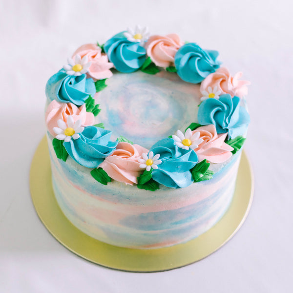 Marbled Cake with Rosettes and Fondant Daisies - Custom Bakes by Edith Patisserie