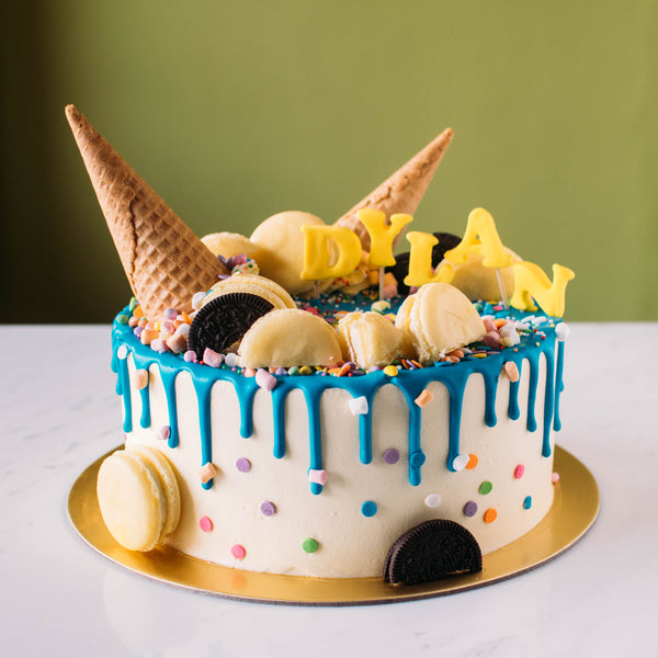 Ice Cream Cone Drizzle Cake - Custom Bakes by Edith Patisserie
