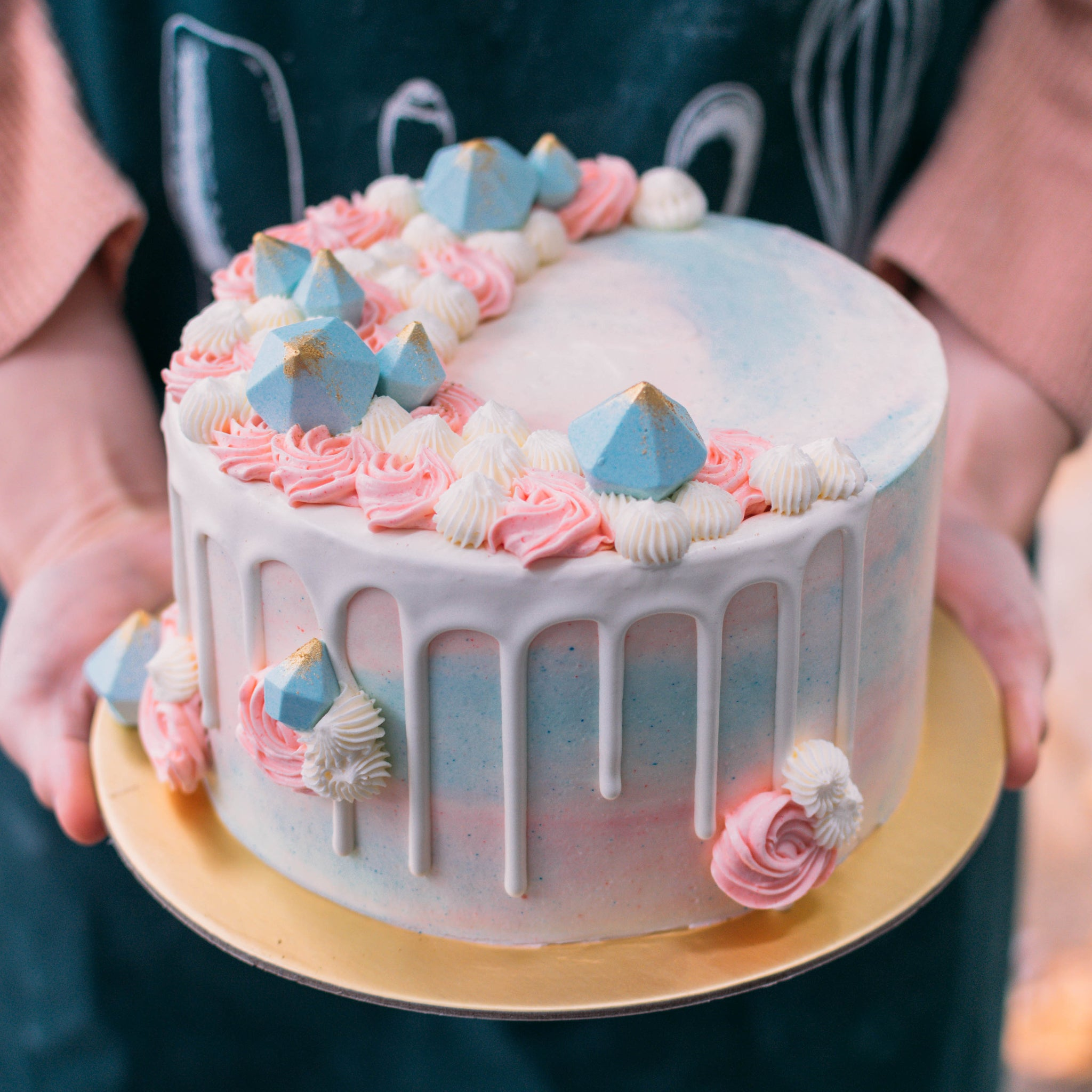 Pink and Blue Marbled Gem Cake - Custom Bakes by Edith Patisserie