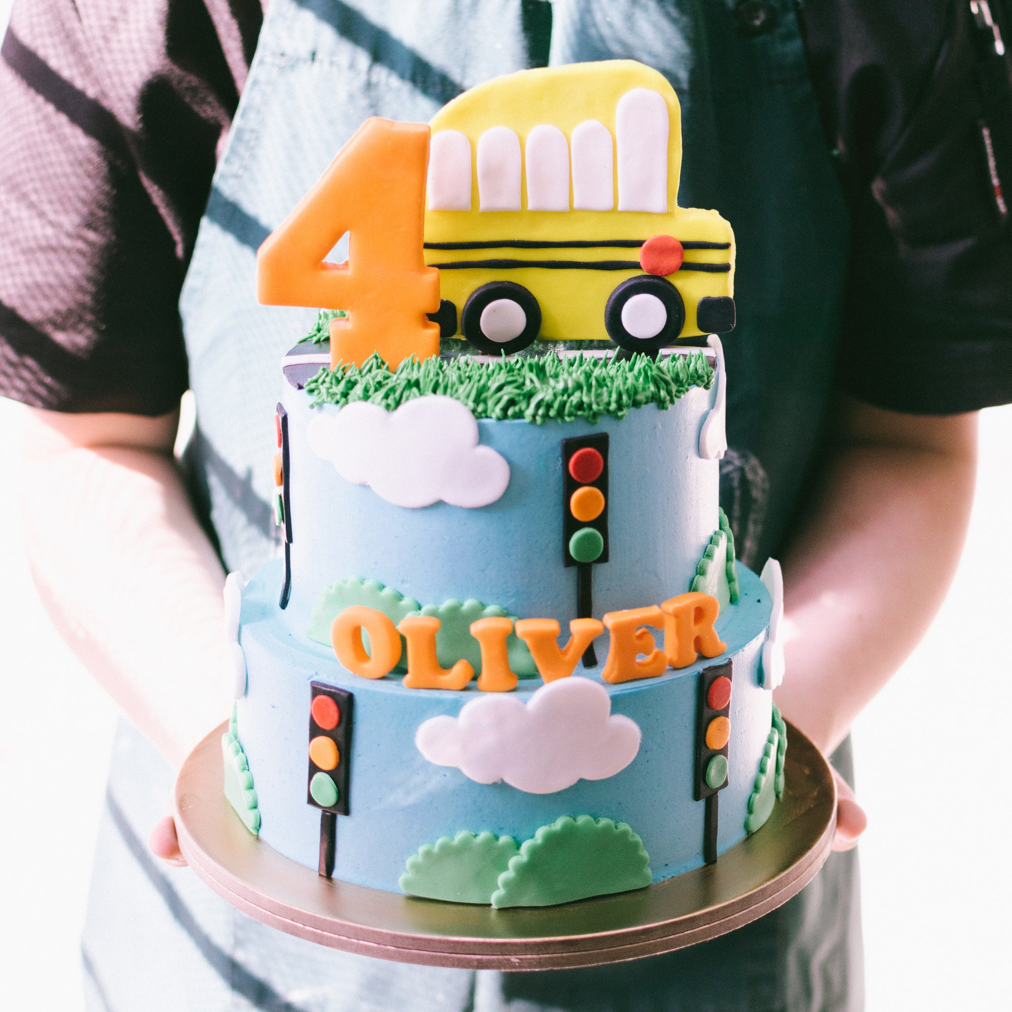 Two-Tier Yellow Bus Cake