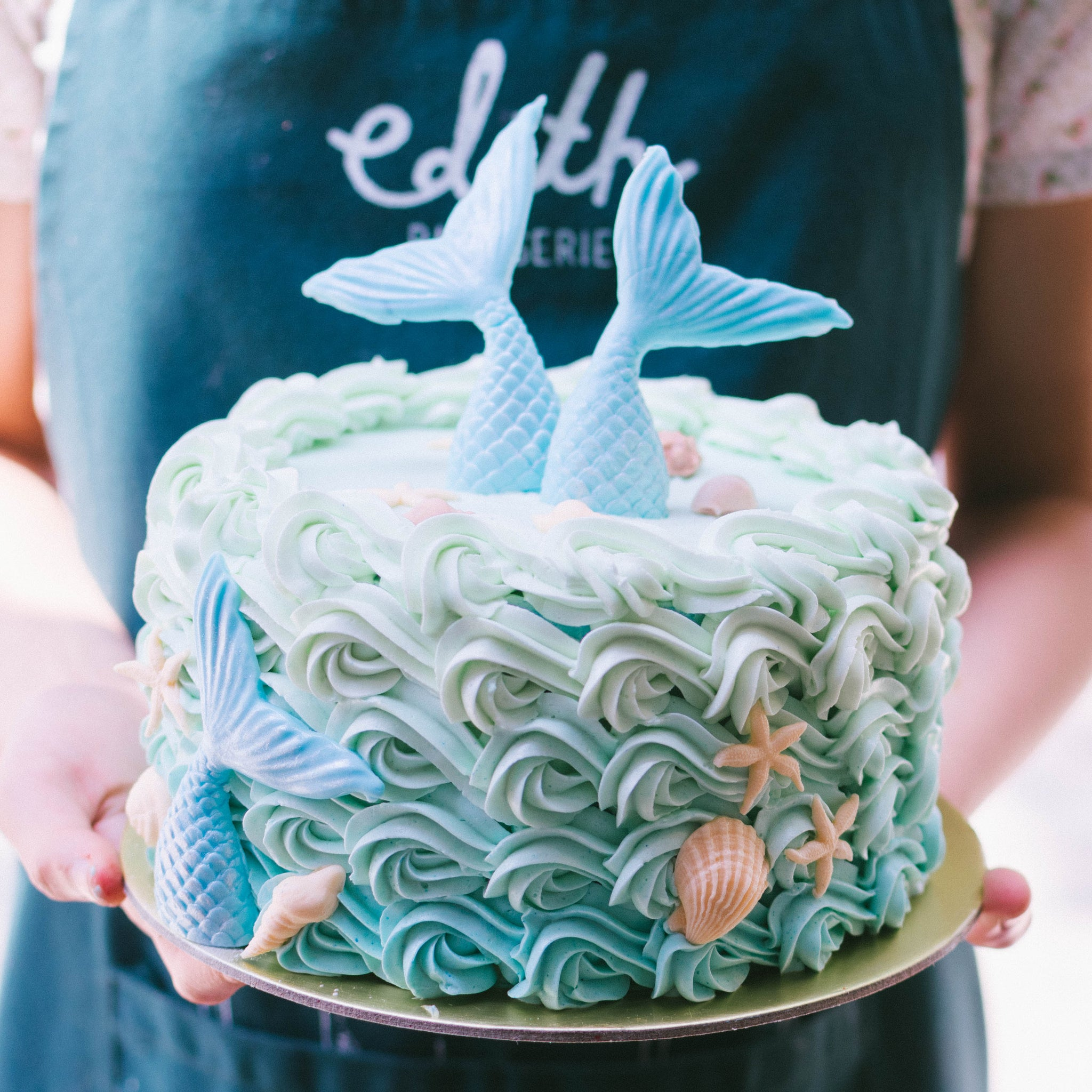 Wavy Rosette Mermaid Cake - Custom Bakes by Edith Patisserie