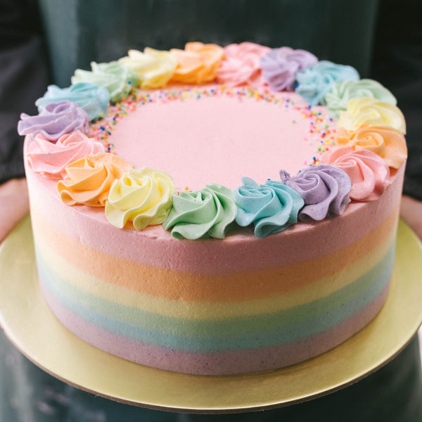 Pastel Rainbow with Rainbow Rosettes and Sprinkles - Custom Bakes by Edith Patisserie