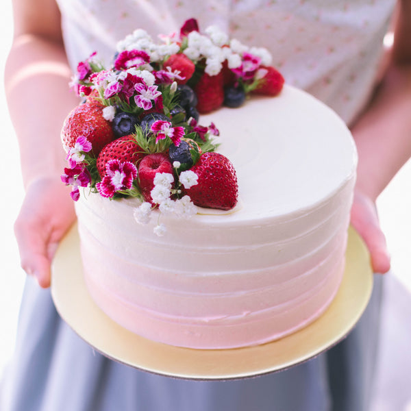 Ombre with Mixed Berries and Fresh Florals - Custom Bakes by Edith Patisserie