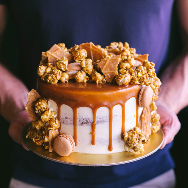 Rustic Caramel Cake with Popcorn, Macarons and Butterwaffels - Custom Bakes by Edith Patisserie