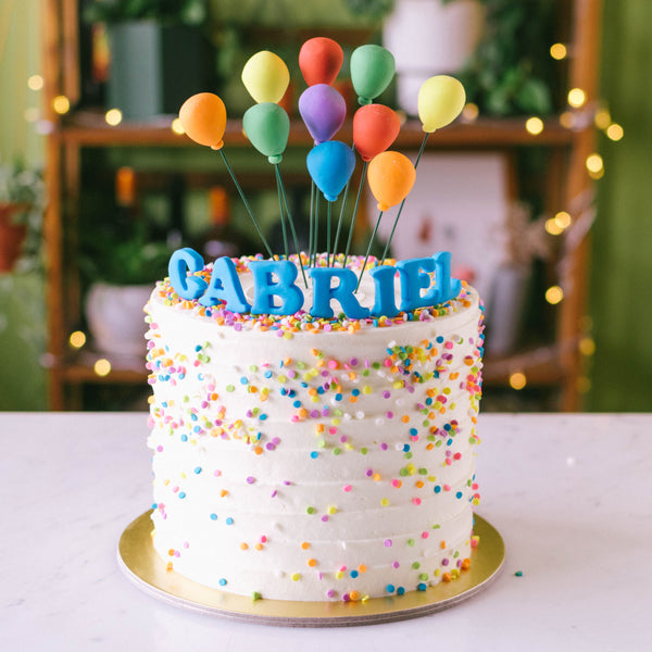 Confetti Cake with Rainbow Balloons - Custom Bakes by Edith Patisserie