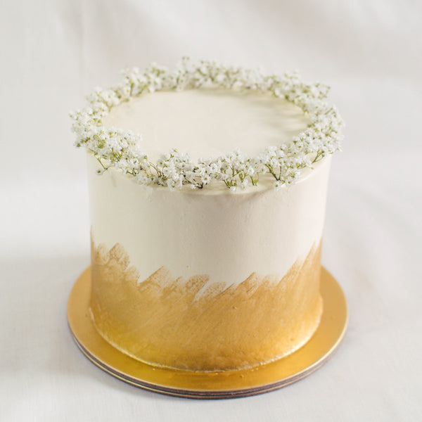 Gold Ombre with Baby's Breath - Custom Bakes by Edith Patisserie