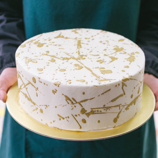 Gold Splatter Cake - Custom Bakes by Edith Patisserie