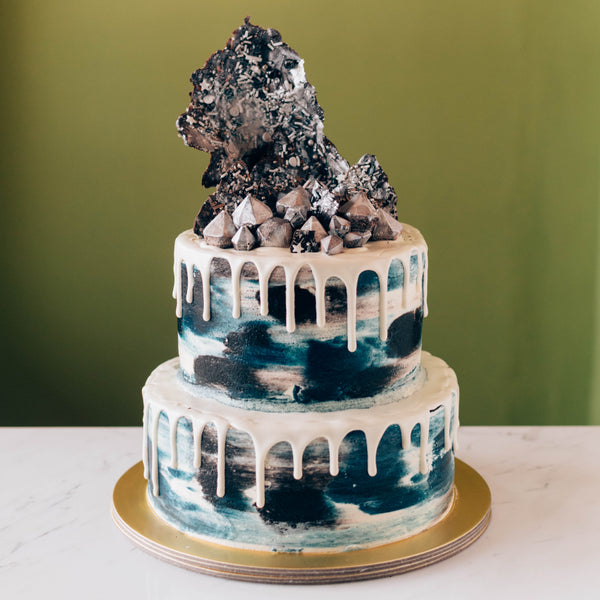 Two-Tier Black & Navy Blue Marble with Silver Chocolate Sails - Custom Bakes by Edith Patisserie