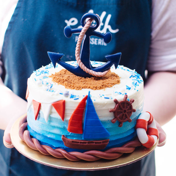 One-tier Nautical Cake - Custom Bakes by Edith Patisserie