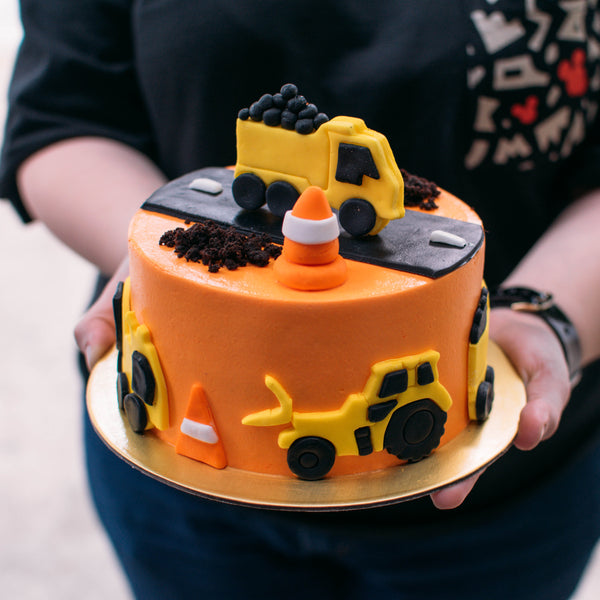 Orange Construction Cake