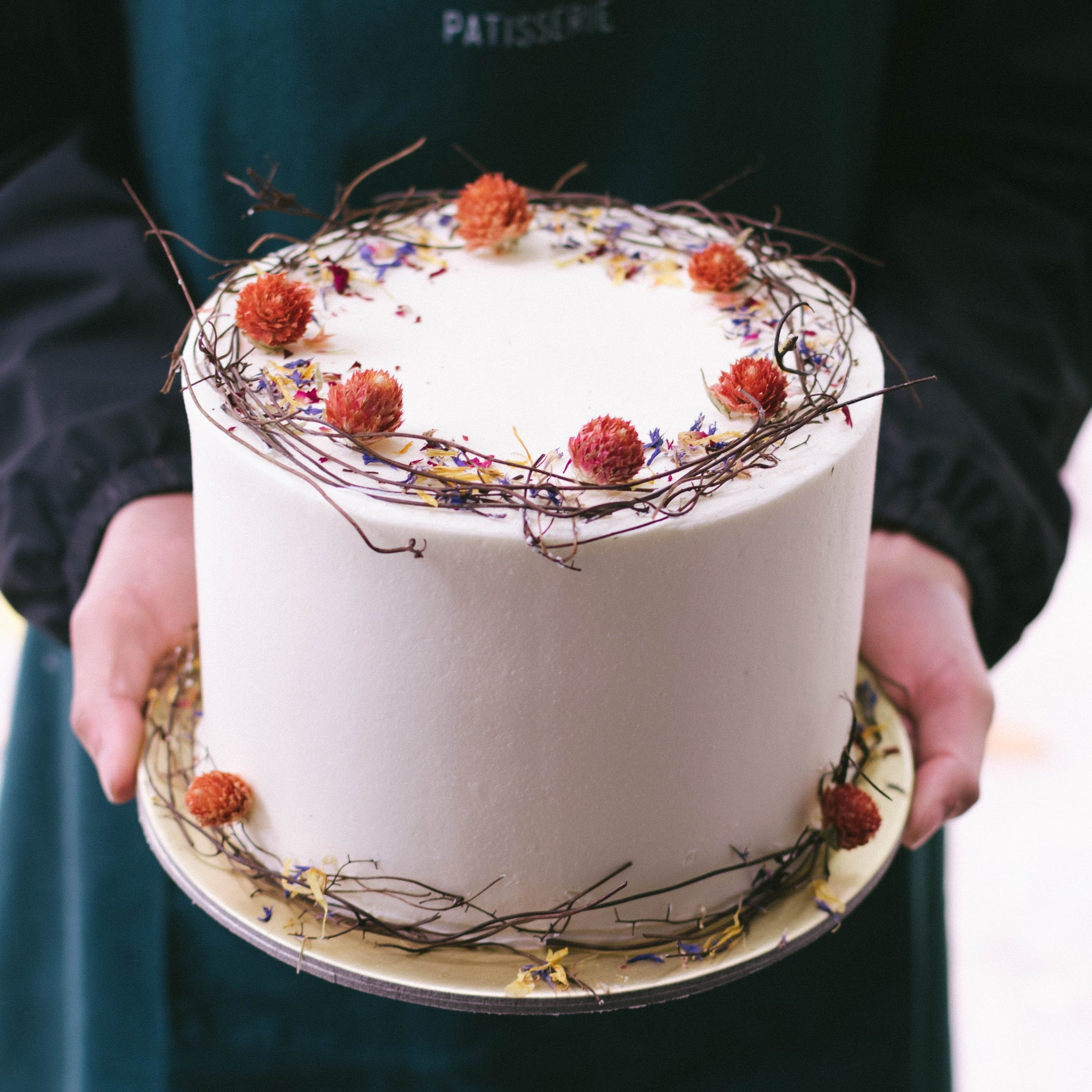 Rustic Twig and Edible Florals Cake - Custom Bakes by Edith Patisserie