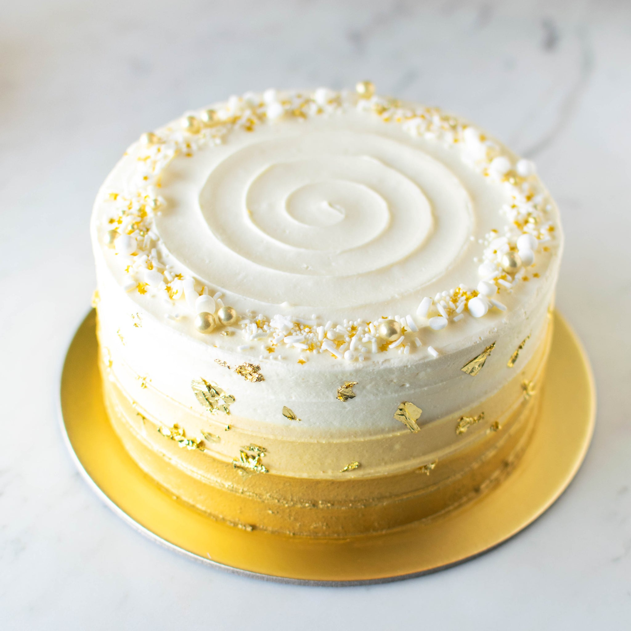 Shimmery Ombre Cake with Gold Leaves - Custom Bakes by Edith Patisserie