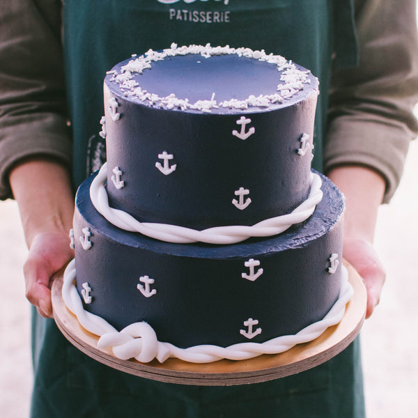 Two-Tier Navy Nautical Cake - Custom Bakes by Edith Patisserie