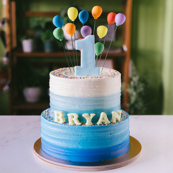 Two-Tier Ombre with Rainbow Balloons - Custom Bakes by Edith Patisserie