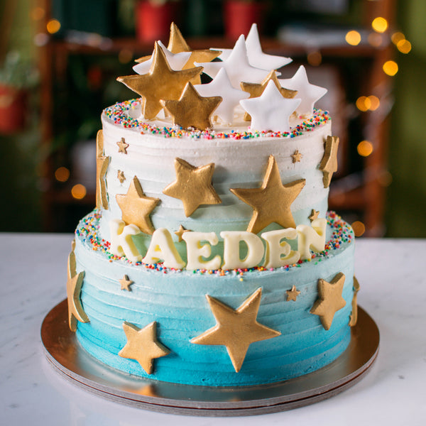 Two-Tier Ombre with Stars Cake - Custom Bakes by Edith Patisserie