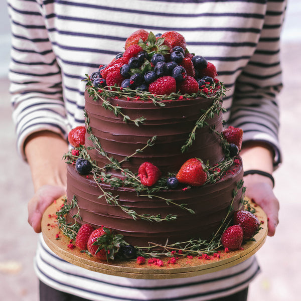 Two-Tier Rustic Chocolate Berries and Thyme
