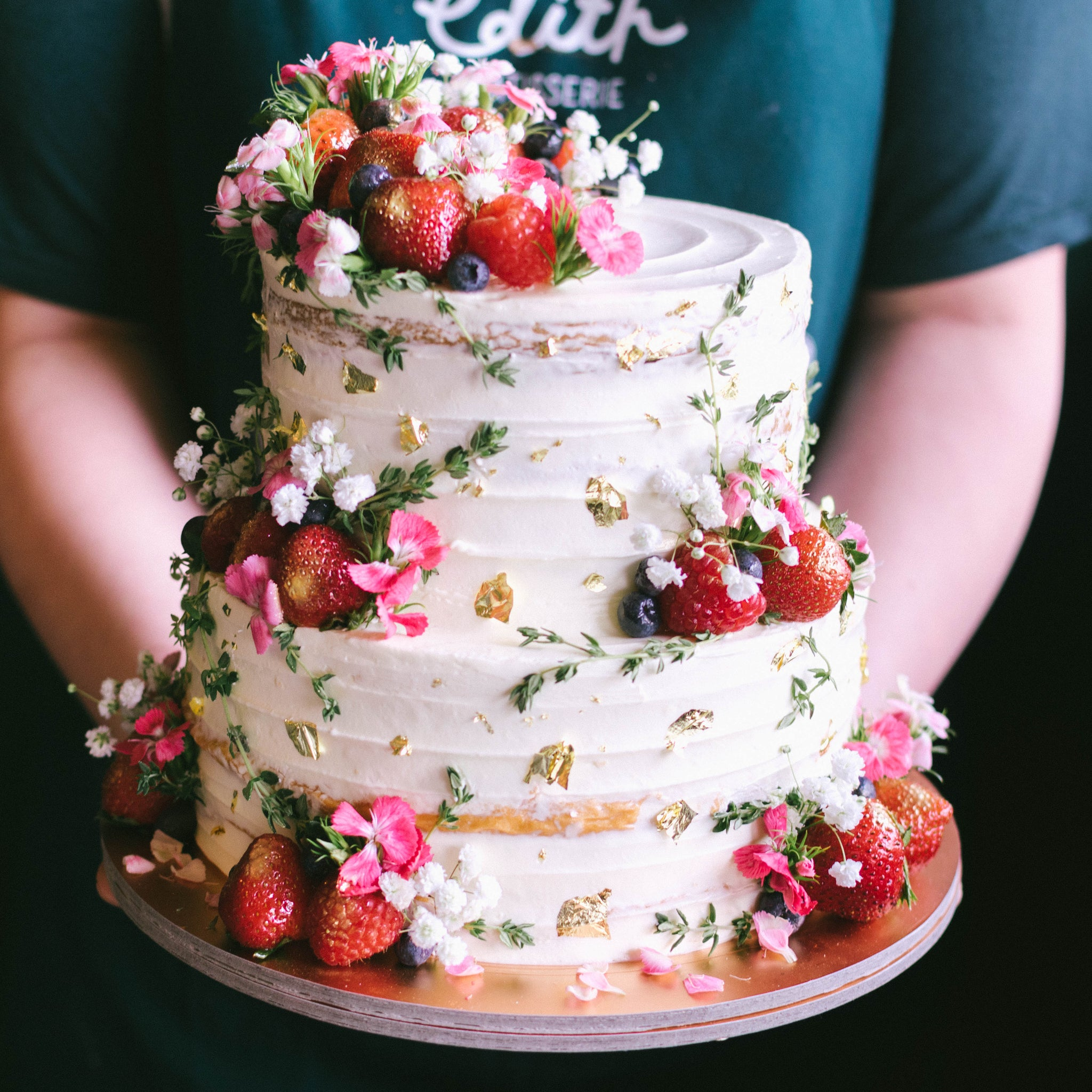 Two-Tier Rustic Floral Berry with Thyme - Custom Bakes by Edith Patisserie