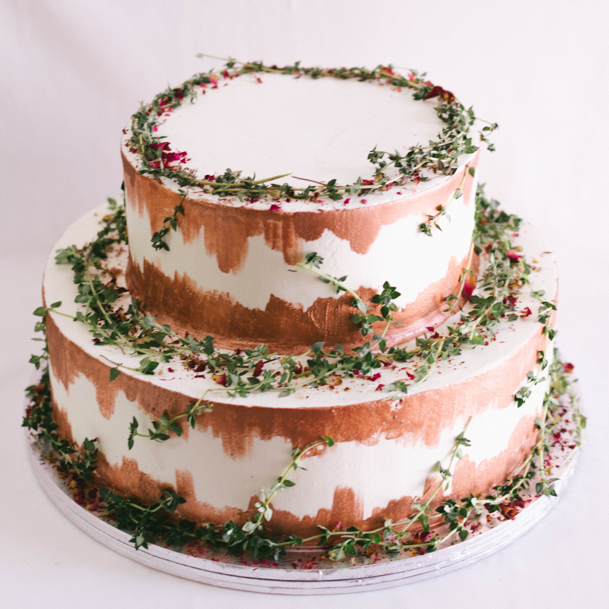 Two-Tier Rustic Rose Gold & Thyme - Custom Bakes by Edith Patisserie