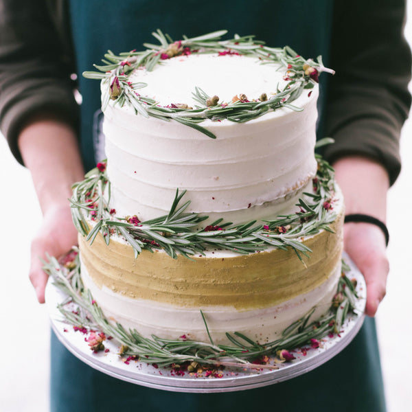 Two-Tier Rustic Rosemary and Rose Petal Wreath and Gold Accent - Custom Bakes by Edith Patisserie