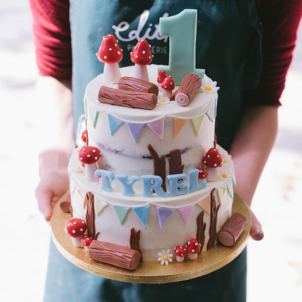 Two-Tier Rustic Woodland Cake