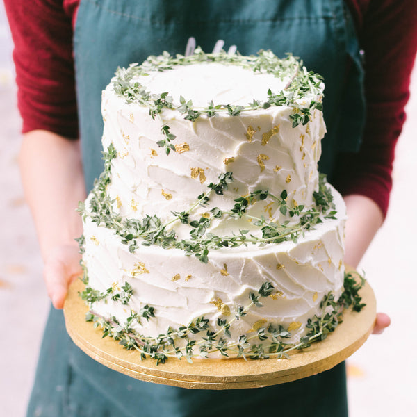 Two-tier rustic texture with gold and thyme - Custom Bakes by Edith Patisserie
