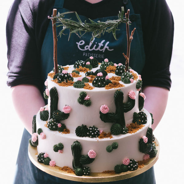 Two Tier Piped Cactus Cake - Custom Bakes by Edith Patisserie
