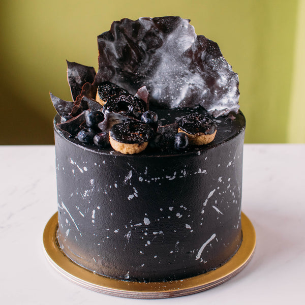 Monochrome Galaxy Cake - Custom Bakes by Edith Patisserie