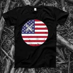 American Flag Circle with Crossed Bullets | Mens Patriotic Graphic Tee