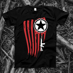 Red Black and White Flag and AR-15 | Mens Patriotic Graphic Tee