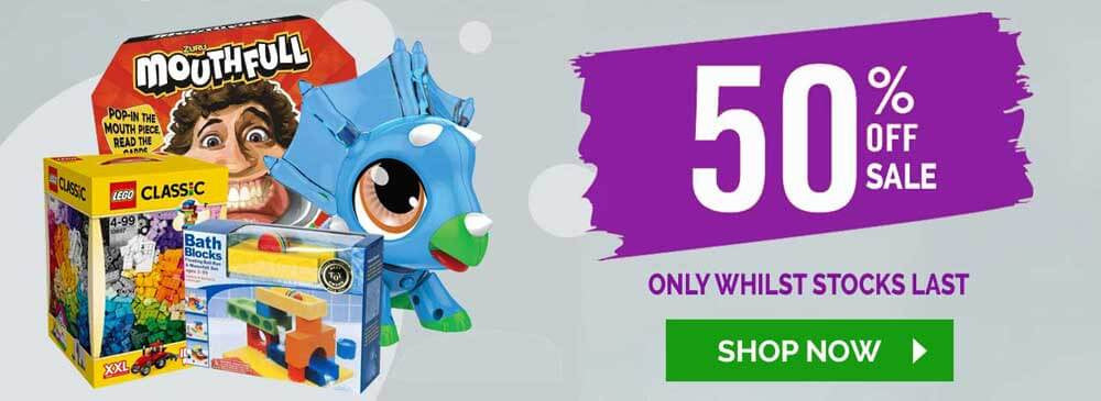 50% off TOY SALE only at TOY UNIVERSE for a limited time